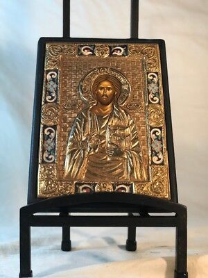 Antique Russian Oklad Icon of the Christus Pantokrator