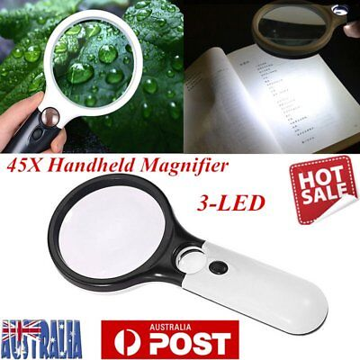 45X Handheld Magnifier Reading Magnifying Glass Jewelry Loupe With 3 LED Light M