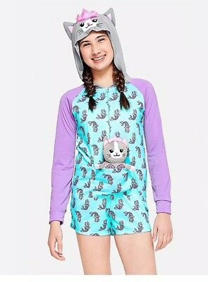 43f64ca6160 JUSTICE GIRLS ROMPER Pajamas Outfit Size 10 PJs Sleepwear Shorts ...