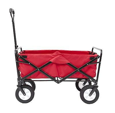 Collapsible Folding Steel Frame Outdoor Utility Wagon Red