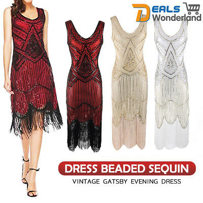 Women's 1920s V Neck Flapper Dress Beaded Sequin Vintage Gatsby Evening Dress