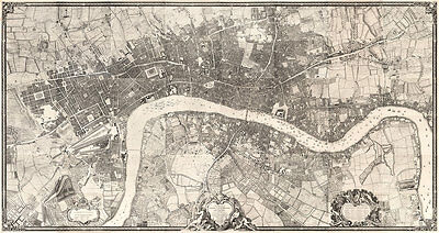 Rocques Map of London 1746 High Quality Art Print 110cm x 58.5cm