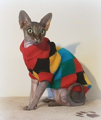 sizes DIAMONDS sweater coat top for a Sphynx cat - cat clothes Katzenbekleidung