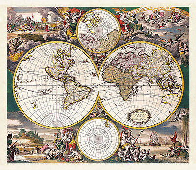 Map of the World Double Hemisphere Polar 1668 A1+ High Quality Canvas Art Print