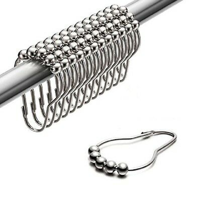Chrome Shower Curtain Metal Pearl Hooks Pack Of 12 Use For Bathroom Rods & Pole