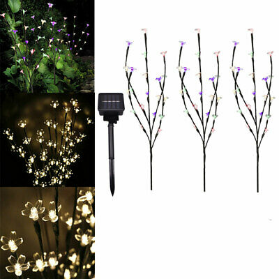 60 LED 3 Branches Tree Twig Leaf Solar Powered Outdoor Garden Patio Xmas Lights