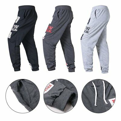 Men's Track Baggy Sweats Pants Casual Sports Jogger Harem Trousers Long Slacks F