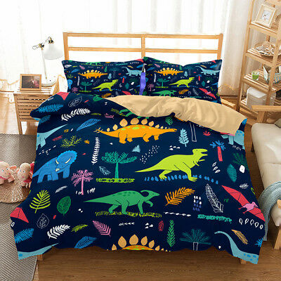 3D Jurassic Dinosaur Doona Quilt Cover Set Kids Bedding Pillowcase Single Double