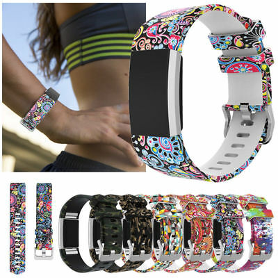 Painted Bracelet Soft Silicone Watch Band Wrist Strap For Fitbit Charge 2 / 2HR