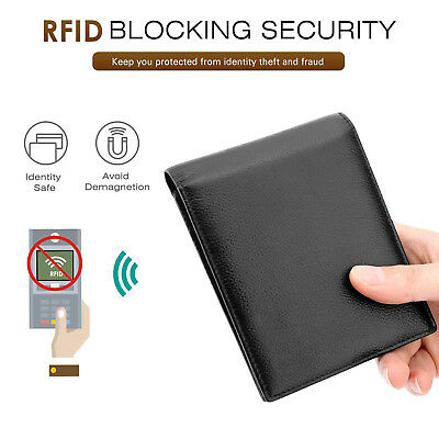RFID Blocking Trifold Bifold Mens Leather Wallet Extra Capacity Gift Box for Men
