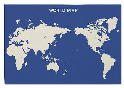 169648 World Map Flag Banner Tapestry Blue Decor WALL PRINT POSTER AU