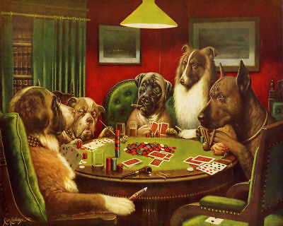 172112 Painting The Bluff Dogs Playing Poker Cards Decor WALL PRINT POSTER AU