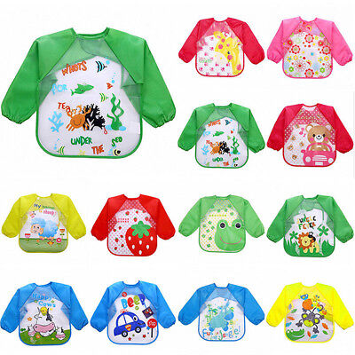 Baby Long Sleeve Bibs Bib Apron Waterproof Art Smock Feeding Toddler Children CL