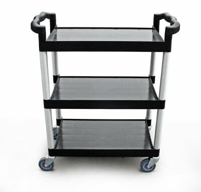 New Star 1 pc Heavy Duty Utility Cart Bus Cart 350 lbs Load 3 Tier Cart - Black