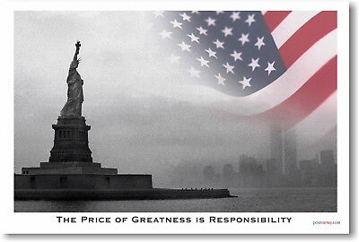 173521 Price of Greatness Statue Liberty Patriotic Decor WALL PRINT POSTER UK