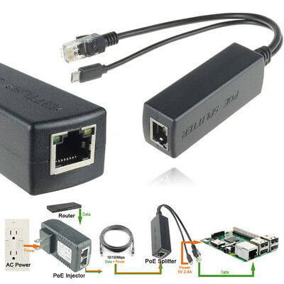2 Pcs Active POE Injector Power Over Ethernet Micro USB 48V to 5V 2.4A for Pi