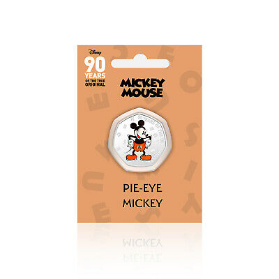 Mickey Mouse Disney Gifts 90 Years of 50p Shaped Collectable Coin Pie Eye Mickey