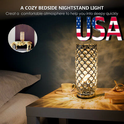 Table Lamp Crystal Table Lamps, Decorative Bedside Nightstand Desk Lamp Shade US