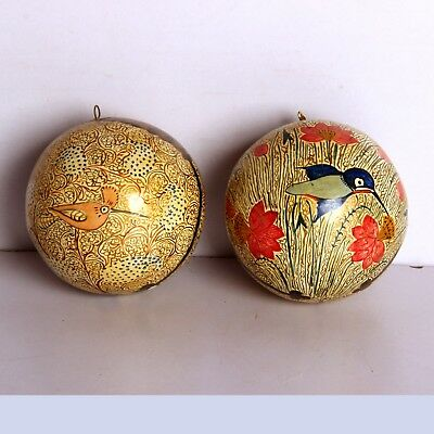 2 Pc Wooden hand painted small christmas tree decorative ball fine design 10861