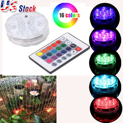 Waterproof 10 LED Submersible Lights RGB Pond Party IR Remote Control Decor US
