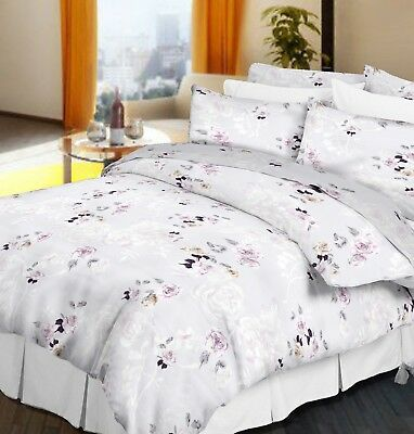 100% Egyptian Cotton 200 Thread Count Luxury Sateen Duvet Cover Set Floral Print