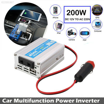 F5A9 200W Car Power Inverter USB Converter DC 12V To AC 220V Plug Overload Prote