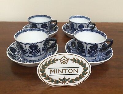 Antique Minton CHINA ASTER Blue Aesthetic Flat Cup & Saucer ~ Set of 4 (A)