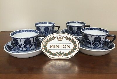 Antique Minton CHINA ASTER Blue Aesthetic Flat Cup & Saucer ~ Set of 4 (B)