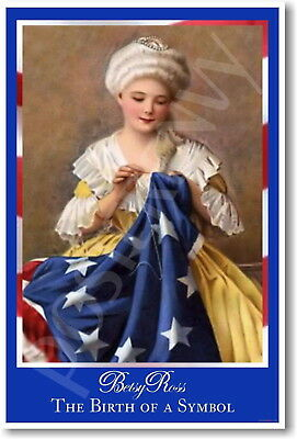 Decoration Poster.Betsy Ross Makes American Flag.Home Room Wall art Design.1417