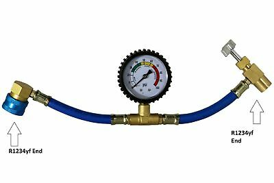 R1234Yf Charging Hose With R1234Yf Can Tap With Gauge - Brass #3605