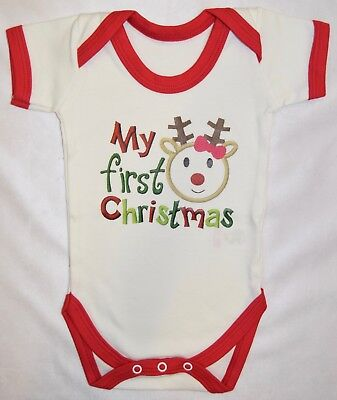 My First Christmas, White Vest With Red Trim, Xmas, Christmas Baby