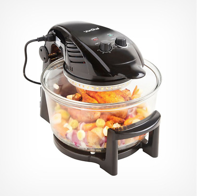 XX-Large 12L Black Electric Halogen Oven W Glass Round Bowl Grill Bake Steam Fry