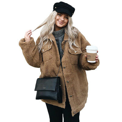 Womens Lady Shaggy Winter Warm Oversized Coat Faux Fur Button Jacket Outwear Top