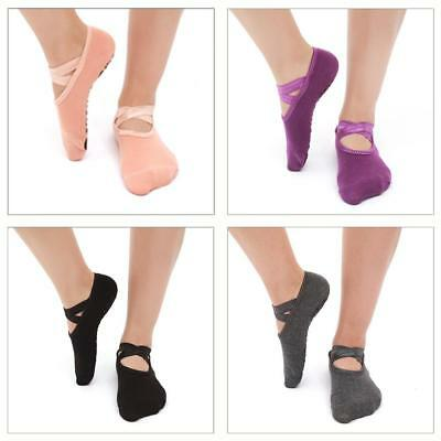 UK Women Yoga Pilates Ballet Exercise Grips Cotton Socks Non Slip Skid Socks