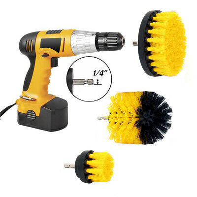 3 pcs/set Car Yellow Drill Polish Brush Carpet Wall Tile Clean Tool MEDIUM DUTY