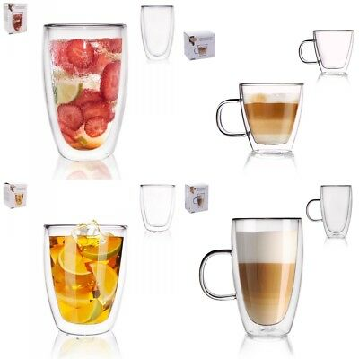 Double Wall Glass Cups Mugs for Coffee Cappuccino Tea Espresso