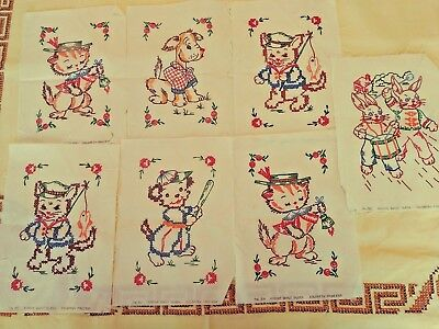 Vintage Craft Hand Made Pieces Quilt Squares 11 Pcs Child Baby