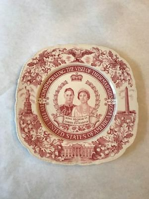 King George VI and Queen Elizabeth Commemorative Plate 1939 Visit to US