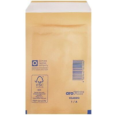 Arofol Small Gold Bubble Envelopes 100mm x 165mm Size 1/A Padded Mailers