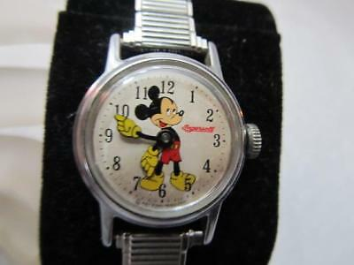Mickey Mouse Watch Value >> Vintage Ingersoll Mickey Mouse Watch 60 S Ladies Mechanical Speidel Watch Band