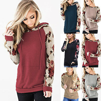 Womens Hoodies Long Sleeve Sweatshirt Jumper Sweater Hooded Floral Tops Coat US