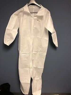 10-Pack  POSI-WEAR White Disposable Coveralls Elastic Wrists & Ankles Large