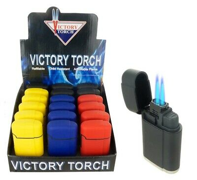 Double Jet Torch Lighter Rubber Finish Adjustable Windproof Butane Refillable 3R