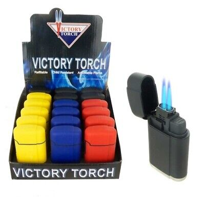4 Double Jet Torch Lighter Rubber Finish Adjustable Windproof Butane Refillable