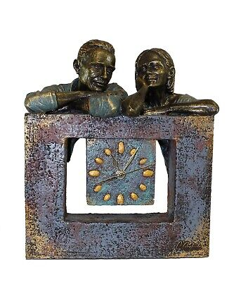 Aanglada Bronze Statue Clock Woman Man Handmade in Spain