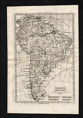 1780 - South America Brazil Colombia Argentina map Karte Kupferstich engraving