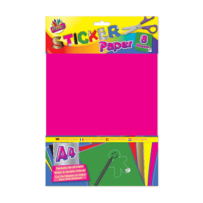 A4 Peel and Seal Sticker Paper  Bright & Metallic Colours - 8 Sheets UK Stockist