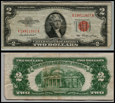 1953 $2 Dollar Bill Old Us Note Legal Tender Paper Money  Red Seal =G767