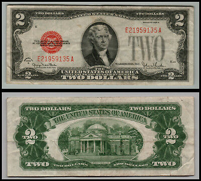 1928g $2 DOLLAR BILL  US NOTE LEGAL TENDER PAPER MONEY  RED SEAL G665