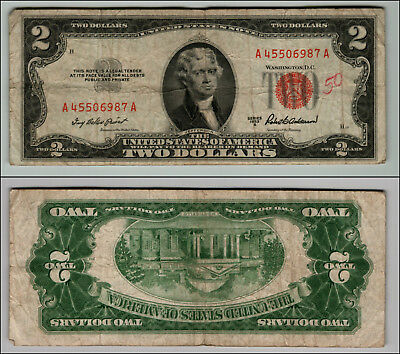 1953A $2 Dollar Bill Old Us Note Legal Tender Paper Money Currency Red Seal Z572